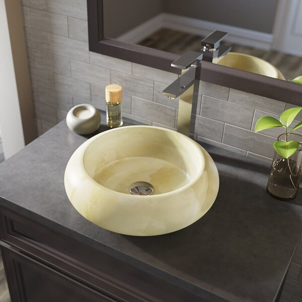 Stone Circular Vessel Bathroom Sink with Faucet