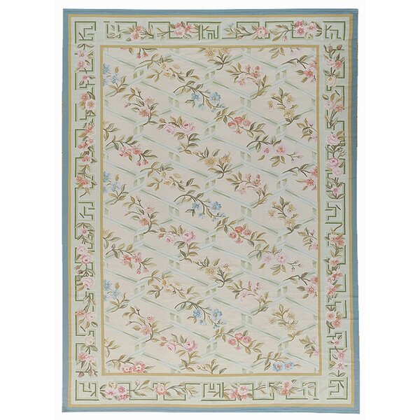 Aubusson Hand-Woven Wool Beige/Blue/Gray Area Rug by Pasargad