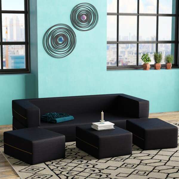 Eugene Denim Sleeper Sofa and Ottomans by Zipcode Design