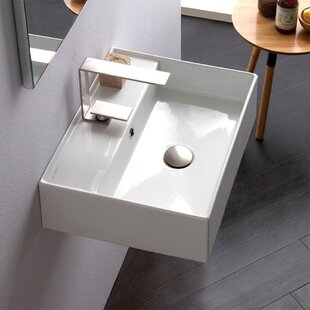 Check Prices Ceramic Vessel Bathroom Sink with Overflow ByScarabeo by Nameeks