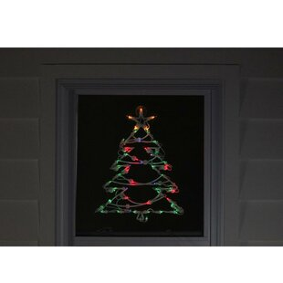 18 tree christmas window silhouette decoration lighted display