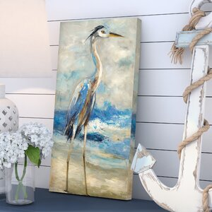 'Seaside Heron II' Print on Wrapped Canvas by Beachcrest Home