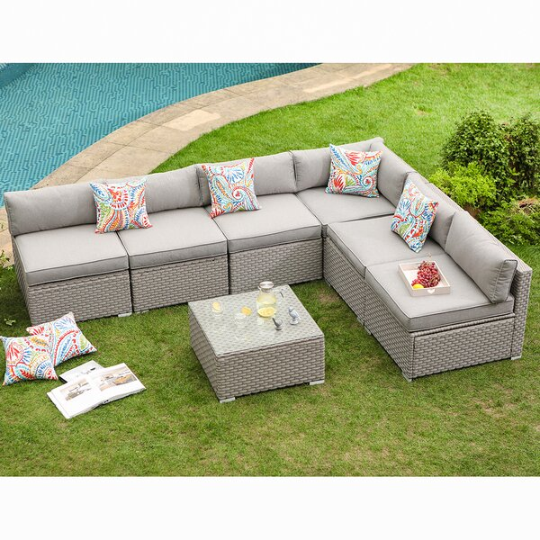 Kemar 7-Piece Outdoor Furniture Set Warm Gray Wicker Sectional Sofa W Thick Cushions, Glass Coffee Table, 6 Floral Fantasy Pillows by Wrought Studio