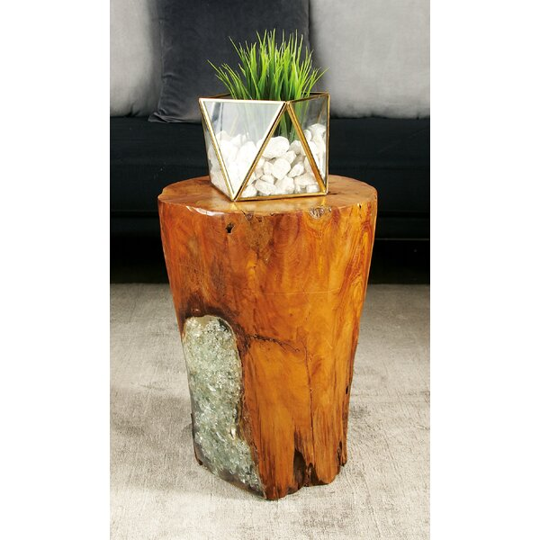Wood Teak and Resin Garden Stool by Cole & Grey