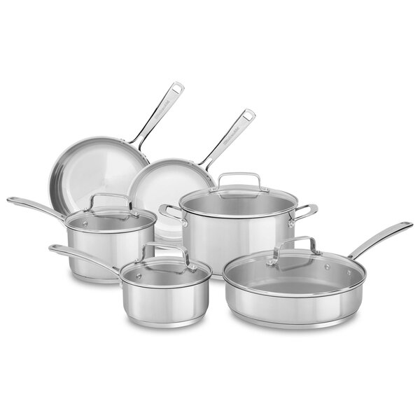 10 Piece Non-Stick Stainless Steel Cookware Set by KitchenAid