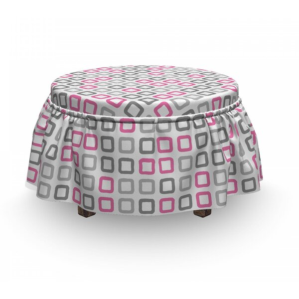 Geometric Square Frames Image 2 Piece Box Cushion Ottoman Slipcover Set By East Urban Home