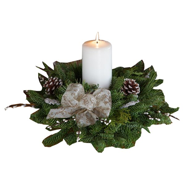 Winter Elegance Pillar Candle Centerpiece by The Holiday Aisle