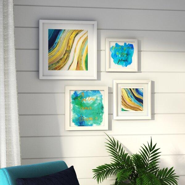 Geode Collage 4 Piece Framed Graphic Art Set by Beachcrest Home