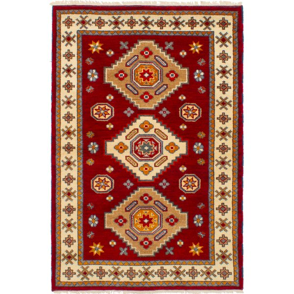 One-of-a-Kind Doering Hand-Knotted Wool Dark Red Area Rug by Isabelline