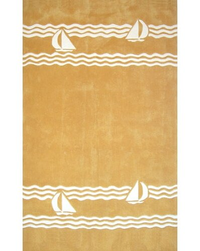Beach Rug Yellow Sailboat Novelty Rug by American Home Rug Co.
