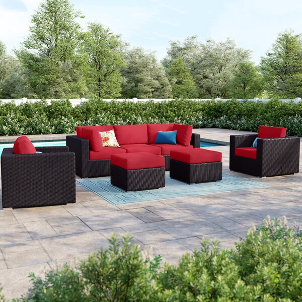 Brentwood 7 Piece Rattan Sectional Set with Cushions by Sol 72 Outdoor