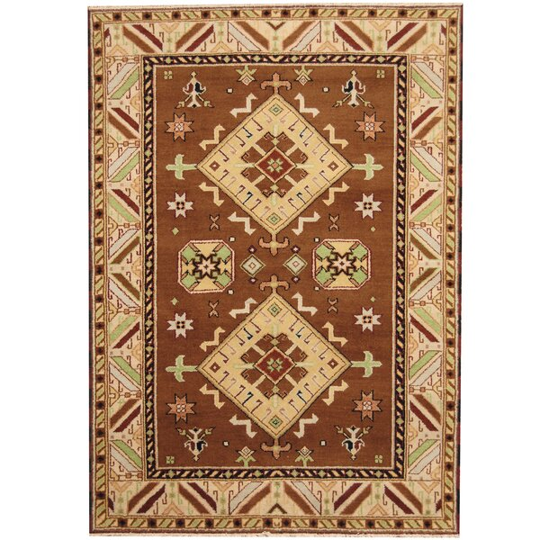 Kazak Hand-Knotted Brown/Ivory Area Rug by Herat Oriental