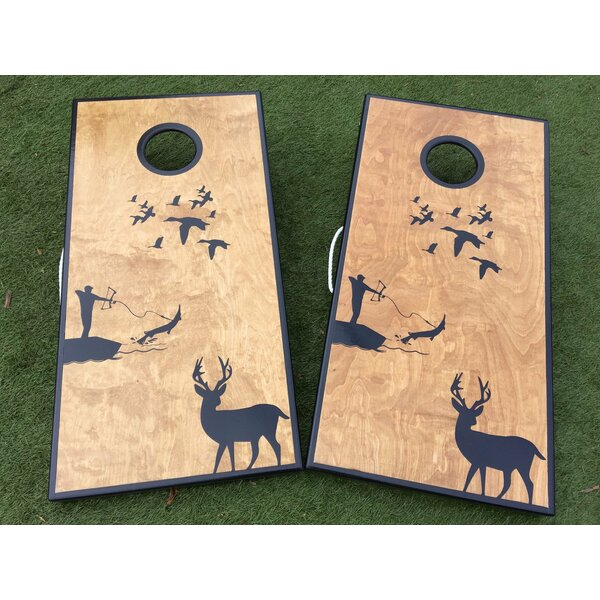 Deer Duck and Bowfishing Custom 10 Piece Cornhole Set by West Georgia Cornhole
