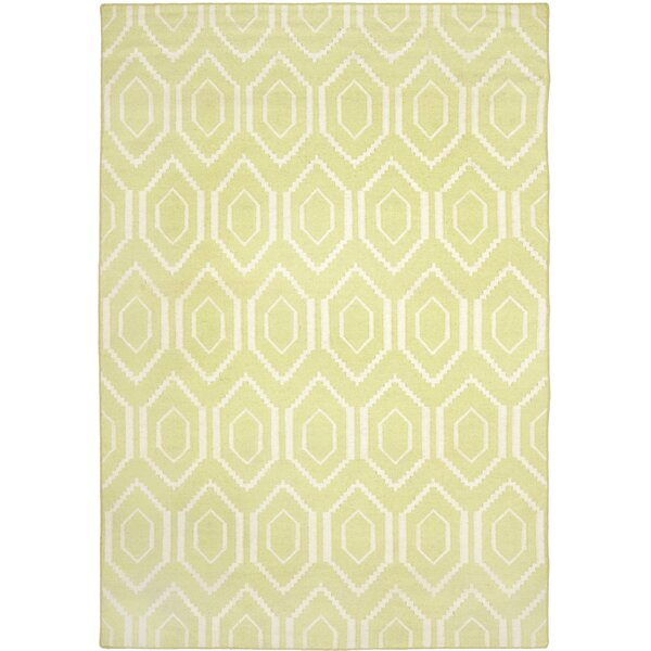 Hand-Woven Wool Green/Ivory Area Rug by Birch Lane Kids™