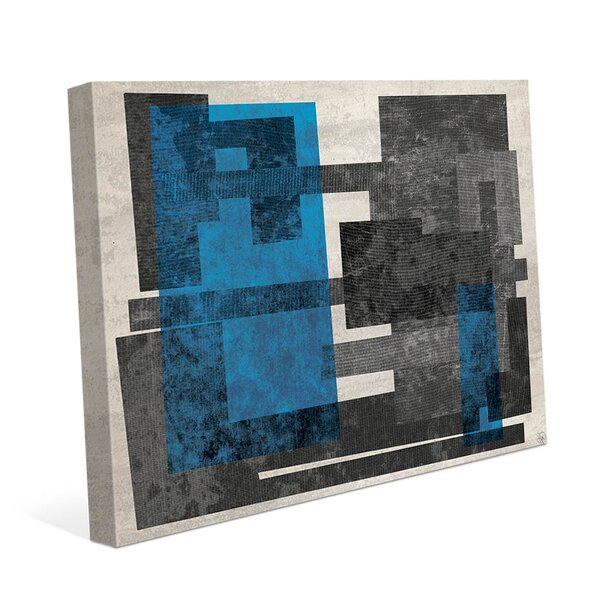 Industrial Block A Blue Graphic Art on Wrapped Canvas by Click Wall Art