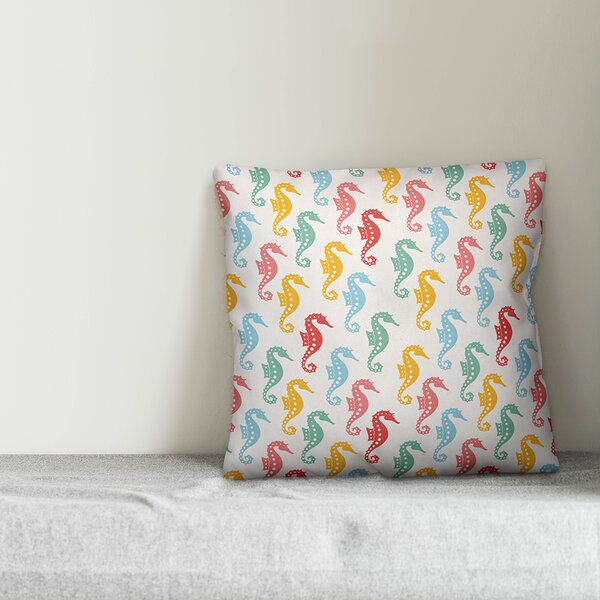Sheryl Colorful Seahorses Throw Pillow by Zoomie Kids