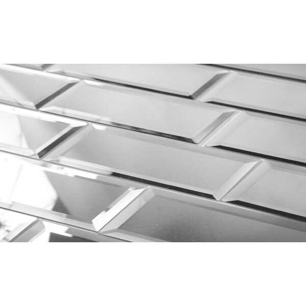Echo 3 x 12 Mirror Glass Tile in Silver by Abolos