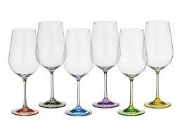Toller Stem Lead Free Crystal 11.8 oz. Colored Wine Glass (Set of 6) by Red Barrel Studio