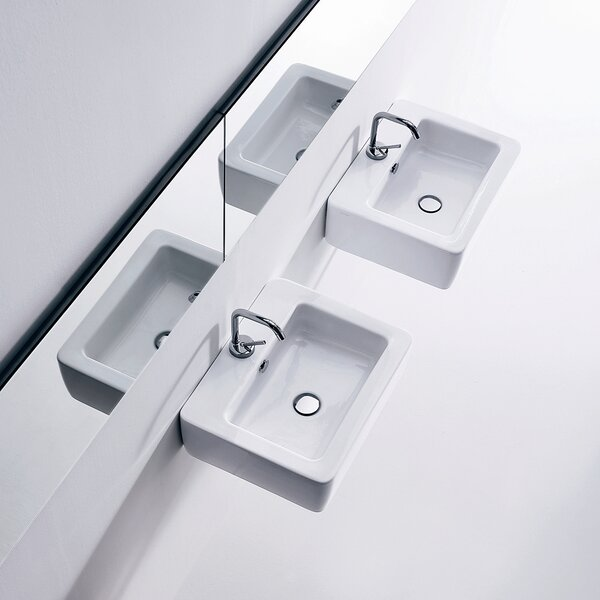 Ego Ceramic 20 Wall Mount Bathroom Sink with Overflow by WS Bath Collections