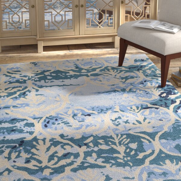 Dilorenzo Hand-Tufted Teal/Beige Area Rug by Bungalow Rose