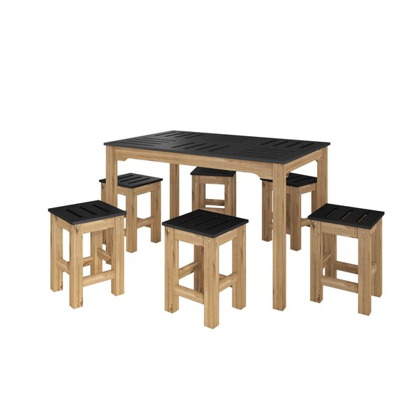 Wiggin 7 Piece Solid Wood Dining Set by Millwood Pines