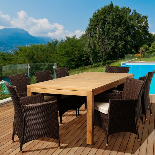 Dowd 9 Piece Teak Dining Set with Cushions by Beachcrest Home