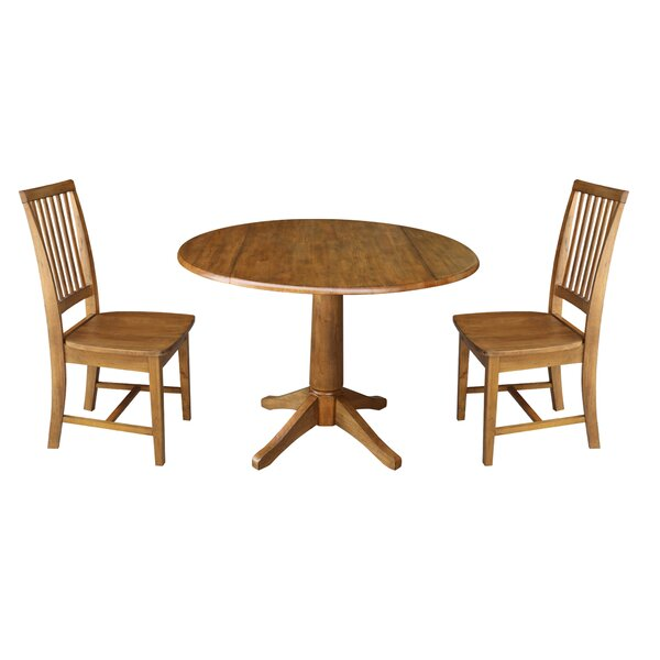 Spriggs Round Top Pedestal Extending 3 Piece Drop Leaf Solid Wood Dining Set by August Grove