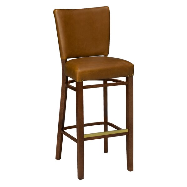 Chesebrough Beechwood Fully Upholstered Seat Bar Stool by Loon Peak