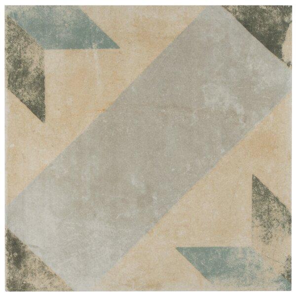 Herculanea 9.75 x 9.75 Porcelain Field Tile in Blue/Beige by EliteTile