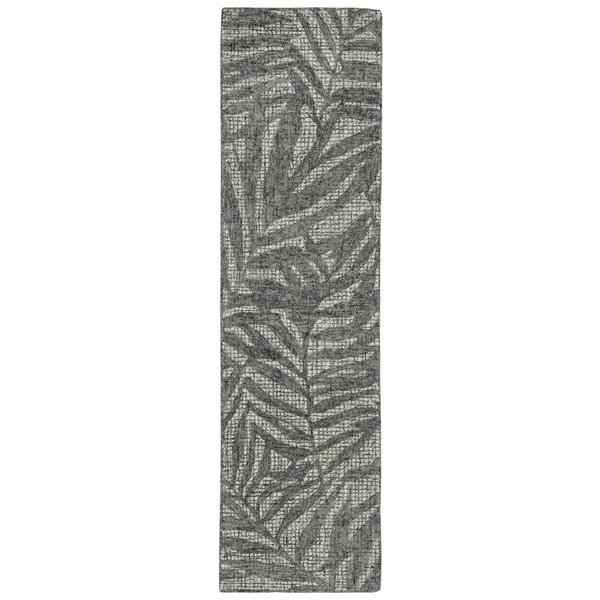Claremont Olive Branches Hand-Tufted Wool Gray Area Rug by Bay Isle Home