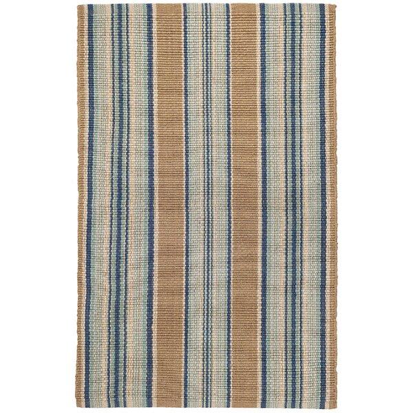 Heron Stripe Handwoven Flatweave Cotton Blue/Sand Area Rug