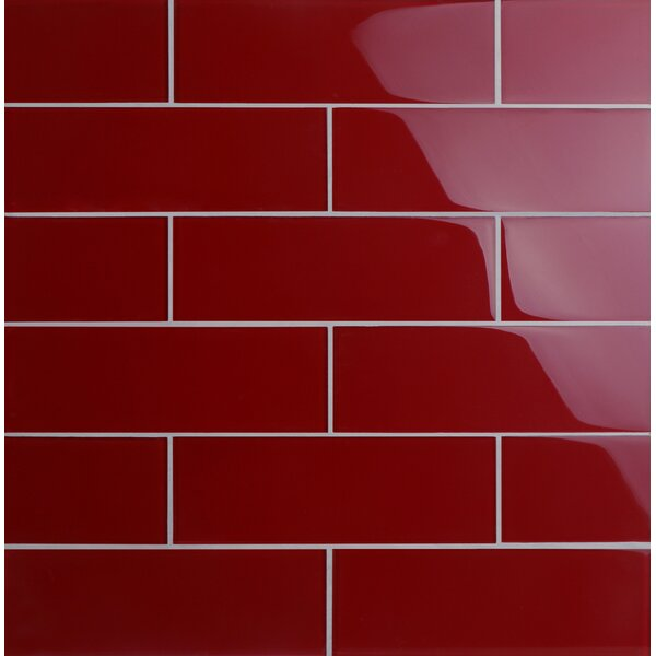 Premium Series 4 x 12 Glass Subway Tile in Glossy American Red by WS Tiles