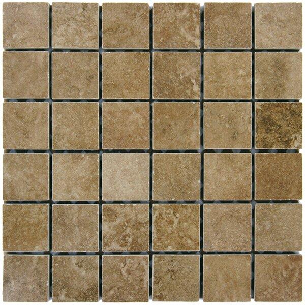 Travertine 2 x 2 Porcelain Mosaic Tile in Walnut by MSI