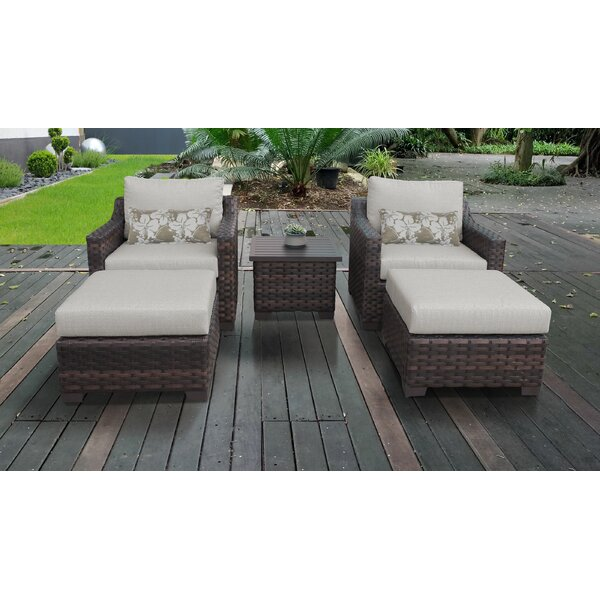 River Brook 5 Piece Outdoor Wicker Multiple Chairs Seating Group with Cushions by kathy ireland Homes & Gardens by TK Classics