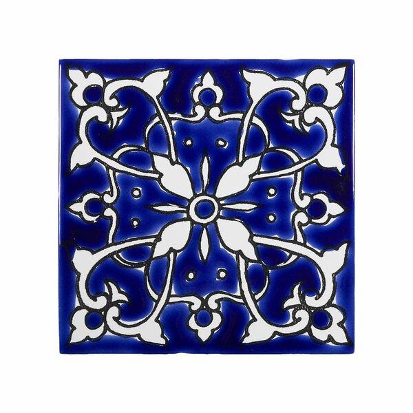 Mediterranean 4 x 4 Ceramic Azur Decorative Tile in Blue/White by Casablanca Market