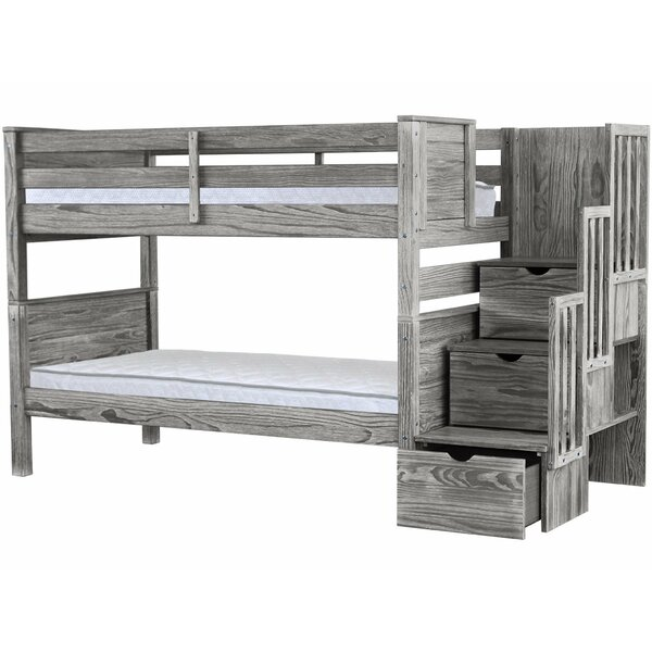 Flitwick Twin over Twin Stairway Bunk Bed with Drawers by Bedz King