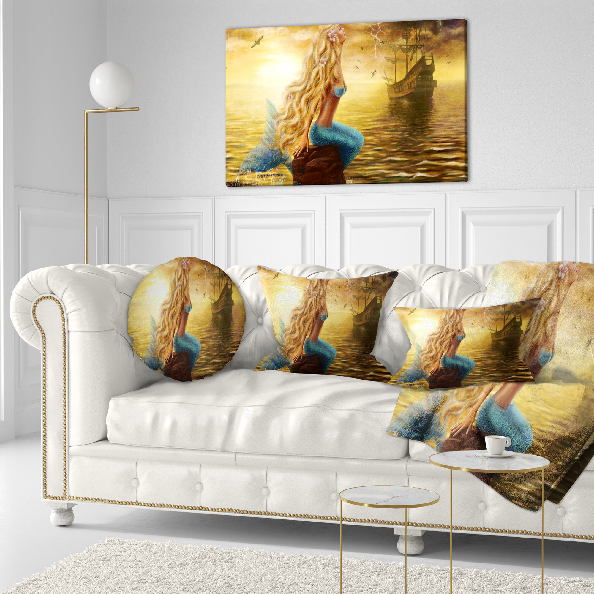 East Urban Home Designart Sea Mermaid With Ghost Ship Seascape