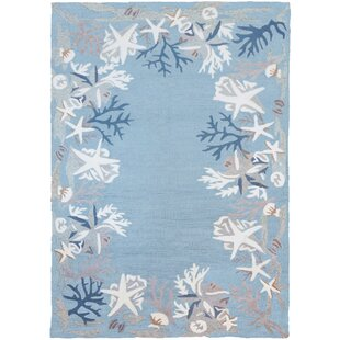 Read Reviews Stalbridge White Coral Reef Hand-Hooked Blue/White Indoor/Outdoor Area Rug By Highland Dunes