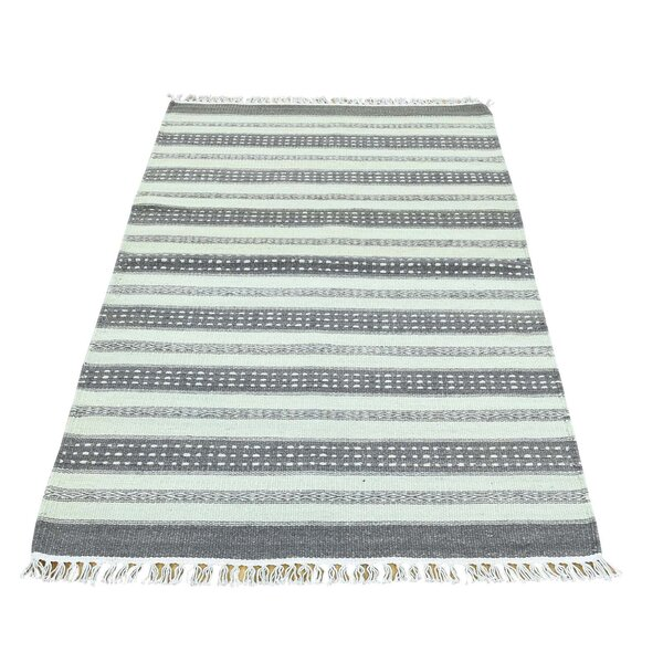 Striped Kilim Flat Weave Oriental Hand-Knotted Gray/White Area Rug by Bloomsbury Market