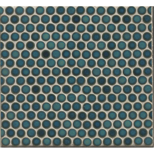 Penny Round Mosaic 12 x 12 Porcelain Tile in Blue