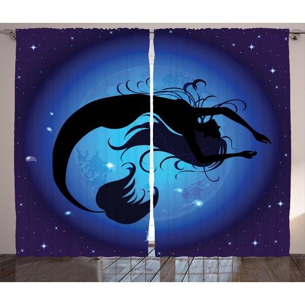 Czarnecki Mermaid Silhouette of Legendary Aquatic Girl on Moon Sky Background Fictional Print Graphic Print & Text Semi-Sheer Rod Pocket Curtain Panels (Set of 2) by Latitude Run