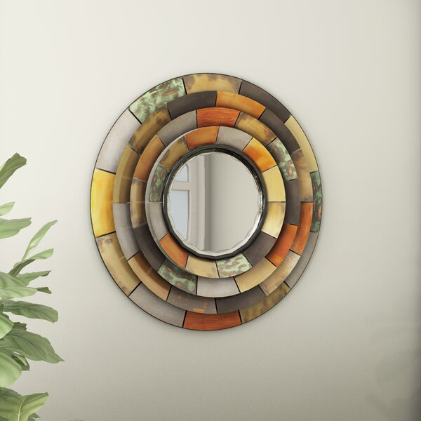 Round Galvanized Metallic Wall Mirror by Latitude Run