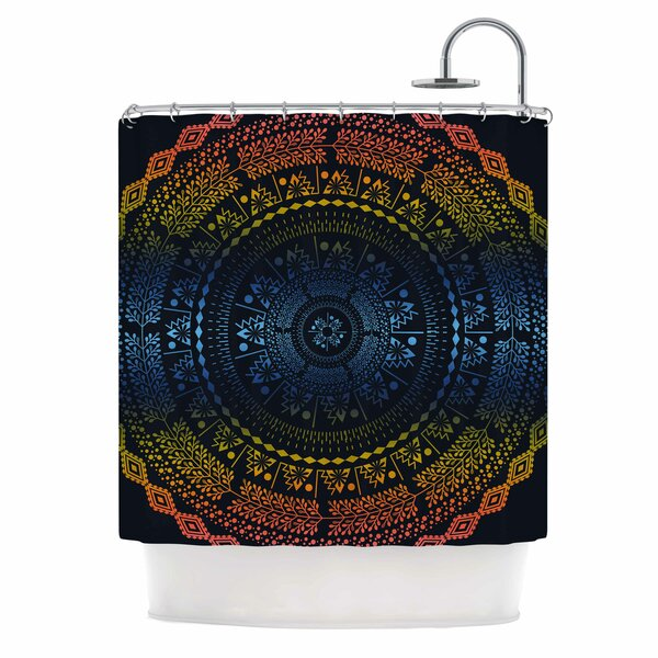 Famenxt Night Queen Boho Mandala Illustration Shower Curtain by East Urban Home