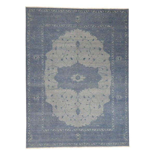 One-of-a-Kind Piland Serapi Oriental Hand-Knotted Blue Area Rug by World Menagerie