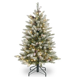 4.5' Frosted Green Fir Artificial Christmas Tree with 450 Clear Lights