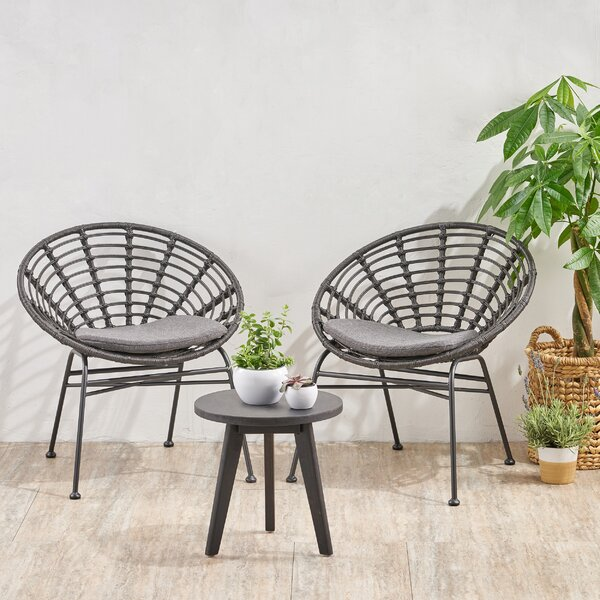Vanetten Acacia Wood Chat 3 Piece Seating Group with Cushions by Bungalow Rose