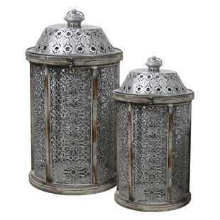 Inexpensive 2 Piece Metal and Wood Lantern Set By Bloomsbury Market