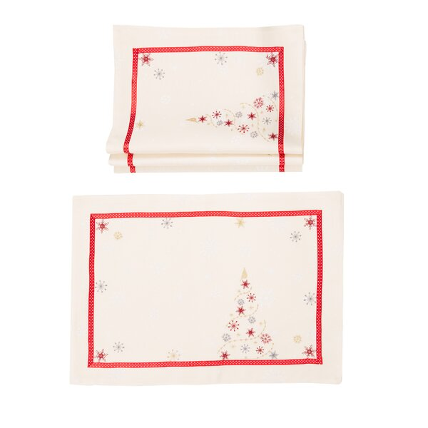 Clement Festive Christmas Tree Embroidered Christmas 14 Placemat (Set of 4) by The Holiday Aisle