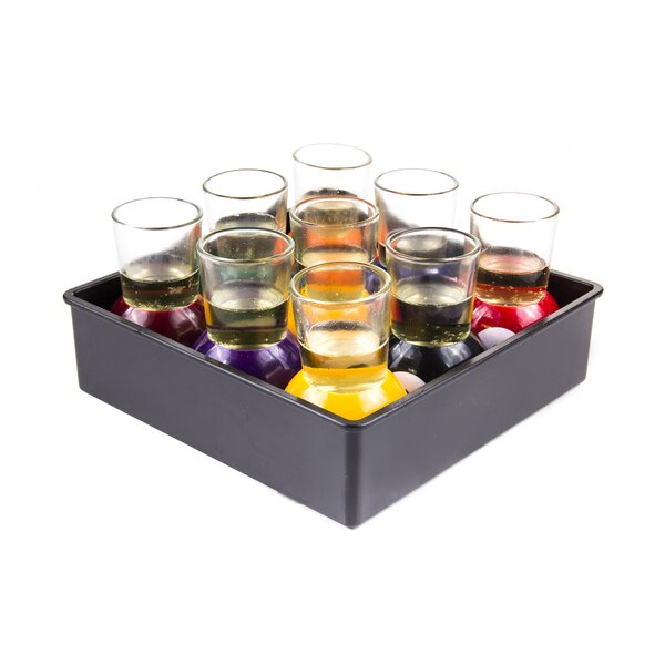 9 Piece Pool Game Shot Glass Set by Innova Imports