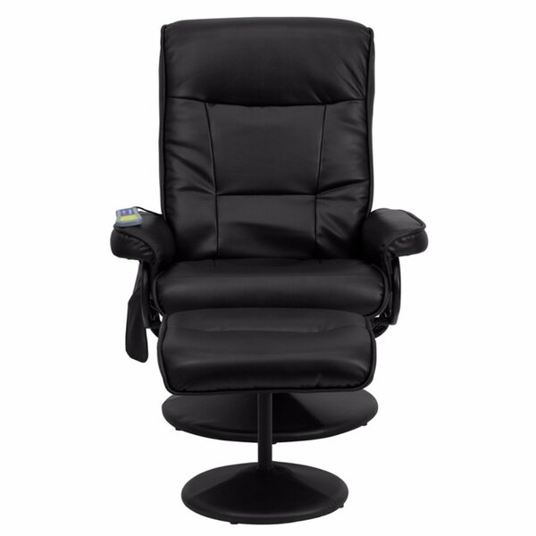 Contemporary Leather Heated Reclining Massage Chair with Ottoman [Red Barrel Studio]